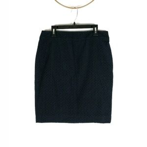 Ann Taylor navy cotton eyelet pencil skirt